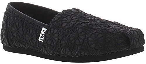 Toms Classic Black Crochet Glitter Womens Espadrilles Shoes -5