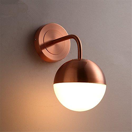Die Nordischen minimalistischen modernen Glas Lampe über dem Bett im Wohnzimmer, Schlafzimmer treppen Creative Light Magic Bean Wandleuchten, einzelne rote Kupfer