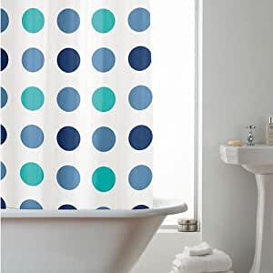 PEVA Shower Curtain Blue Spots Blue