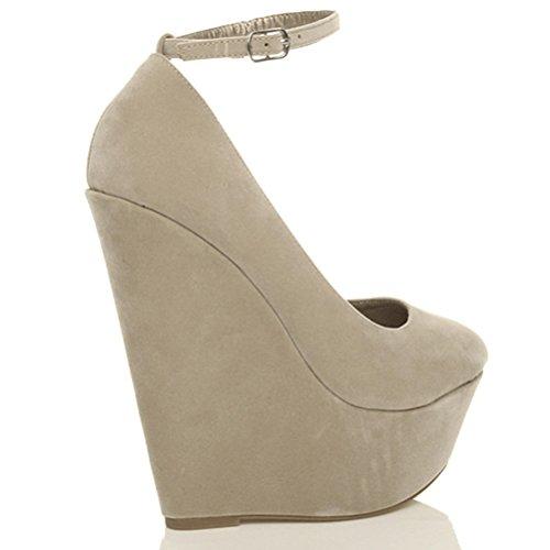 Femmes talon haut chaussures à semelles compensées babies pointure Daim beige