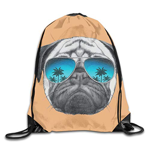 EELKKO Drawstring Backpack Gym Bags Storage Backpack, Dog with Reflecting Aviators Palm Trees Tropical Environment Cool Pet Animal,Deluxe Bundle Backpack Outdoor Sports Portable Daypack