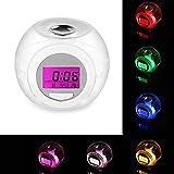 6 Tipi di Suoni Sveglia da Comodino 7 Colori di Luci LED Comodino Orologio Sveglia Allarme Sveglia Digitale con Tempo, Data, Temperatura, Funzione Snooze Multifunzionale