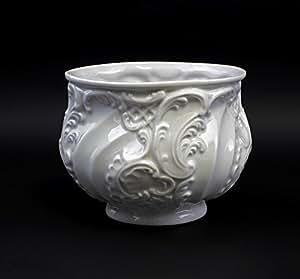 Pot style baroque ressources en porcelaine blanc