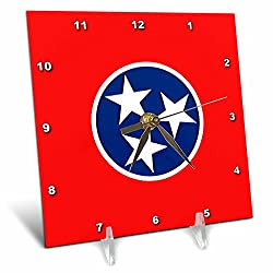 3dRose dc_55333_1 State Flag of Tennessee (Pd-Us)-Desk Clock, 6 by 6-Inch