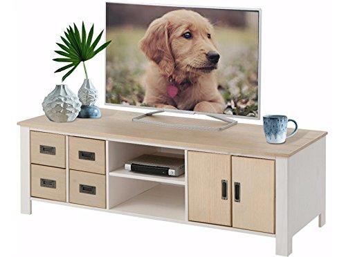 TV-Tisch TV-Board Lowboard Fernsehtisch Fernsehschrank INSEL Breite 150 cm, Kiefer massiv, gebürstet und lackiert, weiß & hellbraun (Schrank Insel)
