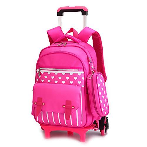 Xhhwzb rolling backpack wheels ragazze ragazzi per studenti bambini a scuola viaggi 18 pollici (colore : rosa)