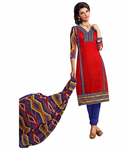 TFW Red Color Unstitched Salwar Kameez Dress Material