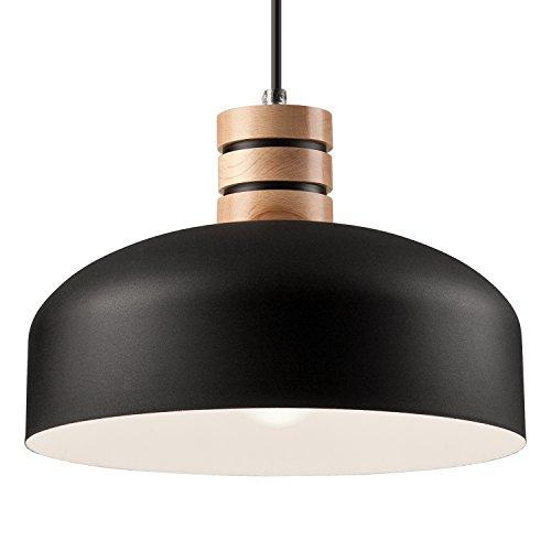 Pendel-Leuchte Decken-Leuchte aus Metall/Holz E27 Hänge-Leuchte (Farbe: Schwarz/Weiss) Vintage Industrieleuchte Wohnzimmerlampe Modern Wohnzimmer mit Kabel Vintagelampe für Wohnzimmer/Küche/Büro