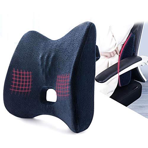 Sxtyrl cuscino posteriore lombare ergonomico memory ortopedico in schiuma di memoria carrozzina da ufficio per sedie a rotelle(blu scuro)