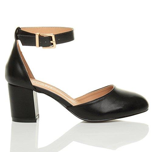 Damen Mitte Blockabsatz Knöchelriemen Schnalle Elegant Pumps Sandalen Größe Schwarz Matt