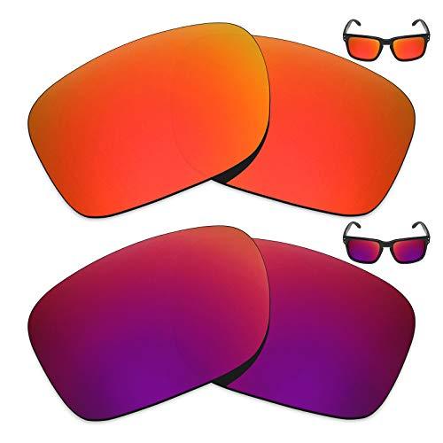 MRY 2Paar Polarisierte Ersatz Gläser für Oakley Holbrook Sonnenbrille-Reiche Option Farben, Fire Red & Midnight Sun