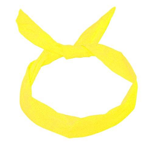 1 Haarband mit Draht-viele versch. Styles möglich pink rosa grün gelb marine blau, Farbe:gelb