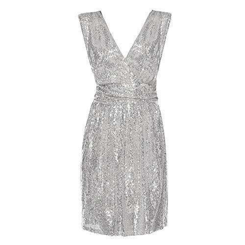 Frauen ärmelloses Kleid Damen Chiffon Dress Mode Chiffon tiefem v-Ausschnitt Backless ballkleid Plus Size schlank Dress Spring Moonuy (Plus Biene Kostüm Size)