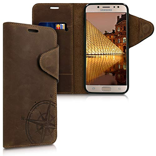 kalibri Samsung Galaxy J7 (2017) DUOS Hülle - Leder Handyhülle für Samsung Galaxy J7 (2017) DUOS - Handy Wallet Case Cover