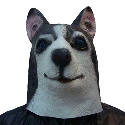 Erwachsenen Kostüm Für Hirten - BOBOLAN Maske Husky Maske Lustig Hundekopf Tier Perücke Hirte Latex Maske Lattich Tanzparty Party
