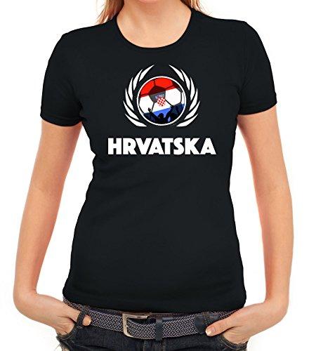 ShirtStreet Hrvatska Croatia Soccer Fussball WM Fanfest Gruppen Fan Wappen Damen T-Shirt Fußball Kroatien Schwarz