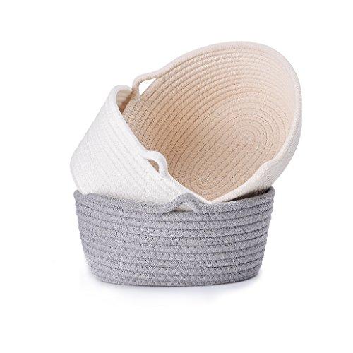 Loongbaby piccolo cestino portaoggetti in cotone, contenitore, cesto, scatola conservare caramelle, chiavi, piccoli accessori (set 3)