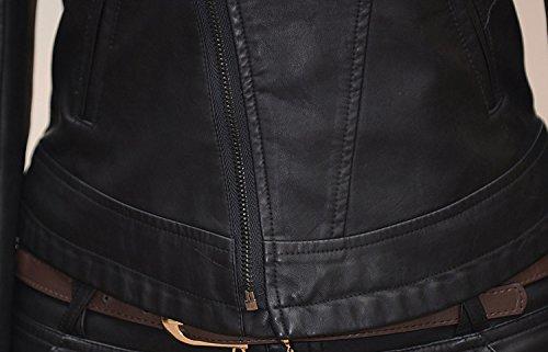 Helan Femmes Col amovible Moto Sport en cuir PU Veste courte Noir