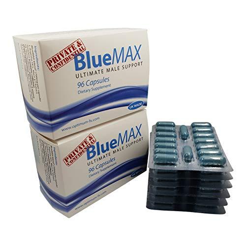 BlueMAX Ultimative Männliche Unterstützungs-Formel für Leistungssteigerung Energie Stehvermögen und Ausdauer 700mg 96 Kapseln - Männliche Formel