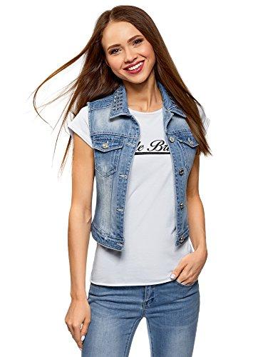 oodji Ultra Donna Gilet in Jeans con Rivetti sul Colletto, Blu, IT 38 / EU 34 / XXS
