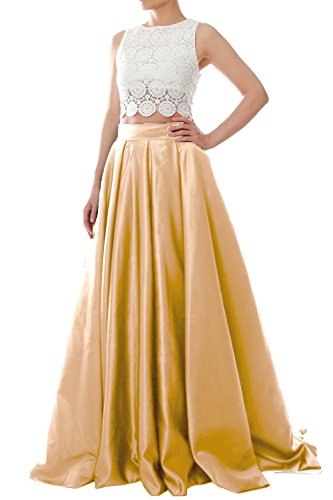 MACloth Women Two Piece O Neck Lace Long Prom Homecoming Dress Evening Ball Gown Champagne