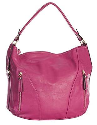 Big Handbag Shop Womens Top Zip Opening Plain Vegan Leather Multipurpose Zip Effect Large Shoulder Bag
