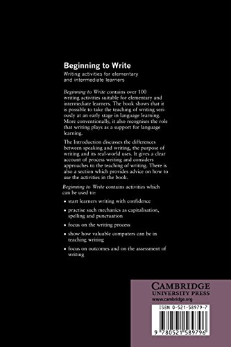 Beginning to Write Paperback: Writing Activities for Elementary and Intermediate Learners (Cambridge Handbooks for Language Teachers)