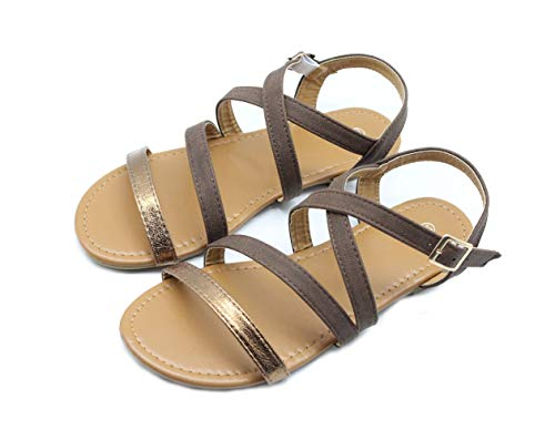 FRALOSHA Damen Frauen Frühling Sommer Herbst Sandalen Wohnungen Rutschfeste Roman Schuhe Sommer Woven Strap Mode Strand Sandalen (37 EU, Braun) - Erde-schuh-sandalen Frauen