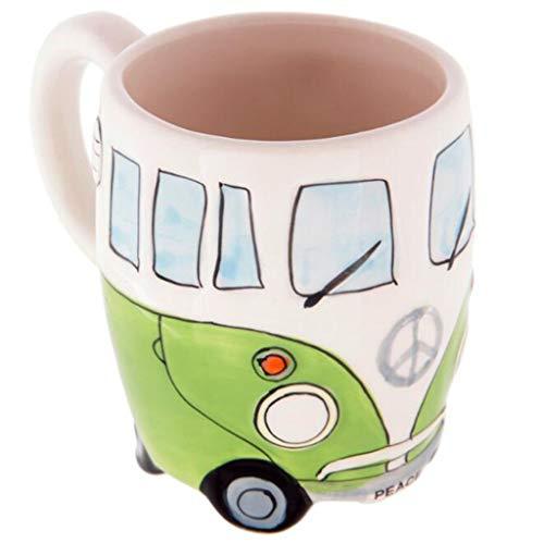 Syeytx Kreative Handmalerei Doppel Bus Becher Retro Keramik Tasse Kaffee Milch Tee 400ml