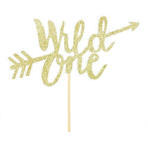 (innoru Gold Glitzer Wild One Kuchendekoration Junge Mädchen ersten Geburtstag Party Idee Tortenverzierung Supplies)
