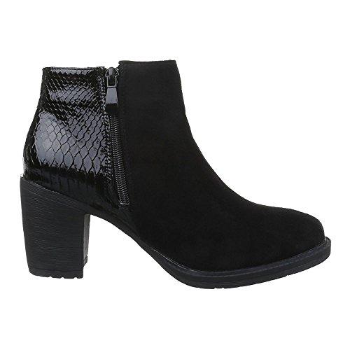 Damen Schuhe, WL-79, STIEFELETTEN LEICHT GEFÜTTERTE BOOTS Schwarz