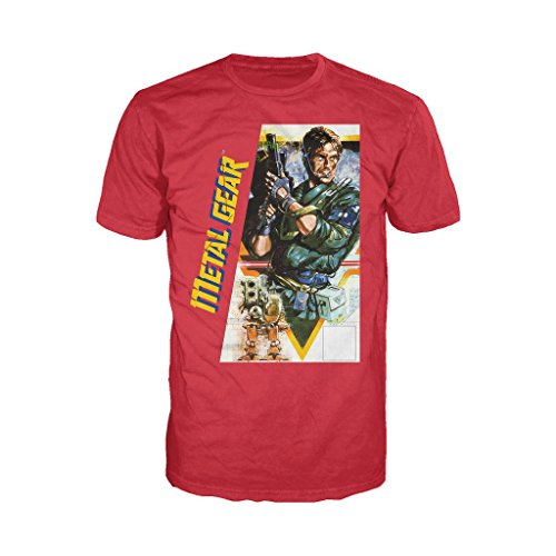 Metal Gear Box Art US Official Men's T-Shirt (Red) (Large)