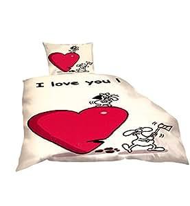 2-Teilig Microfaser Bettwäsche I Love you, weiss/rot mit Reißverschluss Fotodruck 1x 155x220 Bettbezug + 1x 80x80 Kissenbezug , Öko-Tex Standart 100