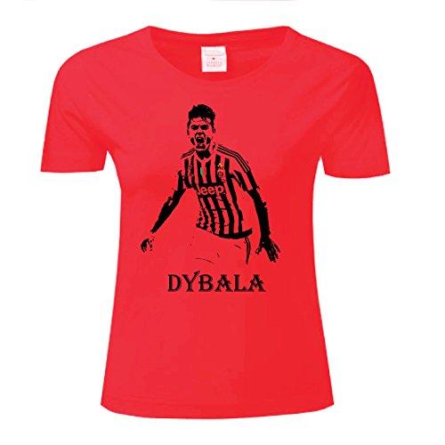 Art T-shirt, Maglietta Paulo Dybala Juventus, Donna Rosso