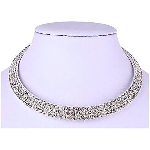 3Filas transparente cristal austríaco collar de gargantilla, con juego de pendientes para novia Prom | Juego de Collar con collar de diamante Gargantilla para las mujeres plata