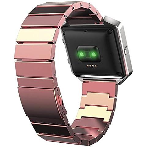 Malloom Nueva acero inoxidable pulsera correa reloj banda de Fitbit Blaze (oro rosa)