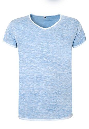 Sublevel Herren Shirt mit V-Ausschnitt | Meliertes Vintage T-Shirt Aus Hochwertigem Jersey-Material Blue