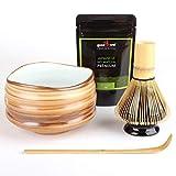 Teezeremonie-Set: Hochwertige Matcha-Schale, Bambusbesen mit Halter und 30g Bio Matcha aus Japan (Mokuzai)