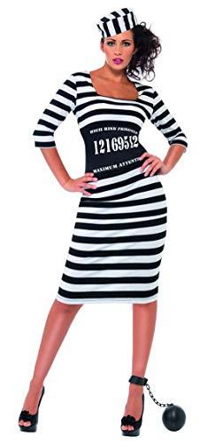 Luxuspiraten - Damen Frauen Sträfling Häftling Gangster Braut Kostüm mit Kleid, Tailienmieder und Mütze, perfekt für Karneval, Fasching und Fastnacht, L, Weiß