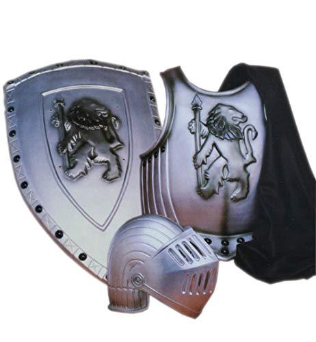 Ritter Rüstung Kostüm - KarnevalsTeufel Kostüm-Set Ritter 4-teilig Brustpanzer, Mantel, Helm mit Visier und Schild Mittelalter Rüstung in Einheitsgröße