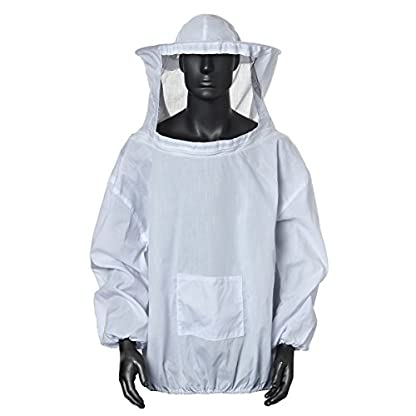 Bee Suit, OUTERDO Protective Beekeeping Veil Smock Beekeeper Suit Coat Jacket Equipment with Hat&Gloves 1