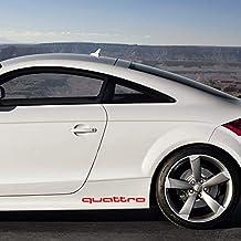 Autodomy Pegatinas Audi Quattro Pack 2 Unidades para Coche (Rojo)