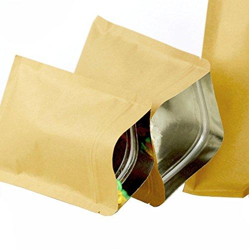 50 Stück (5,5 mil) braunes Kraftpapier hermetische flache Unterseite, Druckverschluss-Beutel, für Kaffee/Tee/Pulver, Verpackungshalter, Organizer aus Aluminiumfolie, Kraft-Papier, braun, 6CM x 8CM