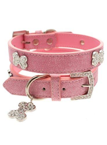 UrbanPup Pink Leder mit Halsband und mit Knochen Charme -