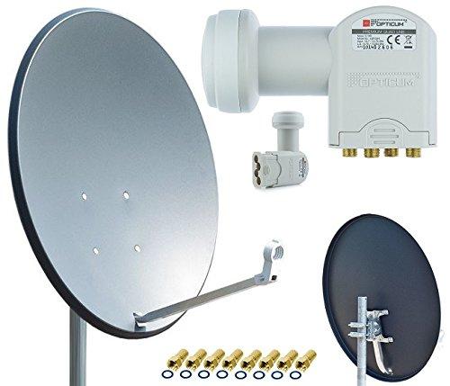 Opticum X80 Satelliten-Antenne Quad-Set (80 cm, Stahl - anthrazit, TÜV zertifiziert, mit Quad LNB LQP-04H) inkl. 8x F-Stecker gratis