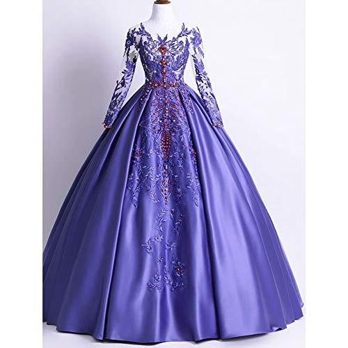 QAQBDBCKL Erwachsene Womens Luxury Lila Stickerei Sicke Rapunzel Prinzessin Kleid Märchen Kleid Party/Festival/Können Gewohnheiten Größe (Rapunzel-kleid Für Erwachsene)