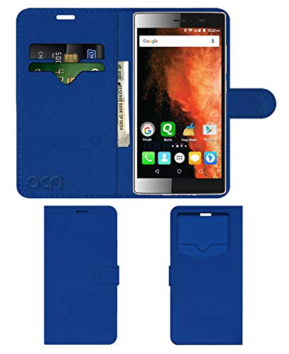 Acm Leather Window Flip Wallet Front   Back Case Compatible with Micromax Canvas 6 E485 Mobile Cover Blue