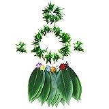 BESTOYARD Juego de Disfraz Hawaiano de 5 Piezas con Hojas Verdes, Collar, Pulseras, Diadema, Fiesta Luau, Regalos para Playa y Fiestas (Adultos)
