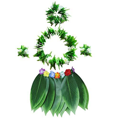 BESTOYARD 5 stücke Hula Rock Hawaiian kostüm Set mit grünen blättern Halskette armbänder Stirnband für Strand Luau Partei liefert (Hula Kostüm Für Männer)