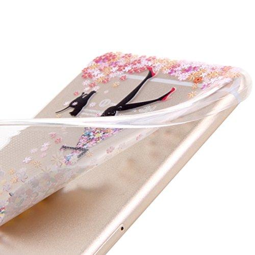 Etsue Custodia iPhone 6S Plus ,Transparente in Tpu Protettiva Cover Case,Colorato Pattern Disegni Per Ragazze,Ultra slim Fit Morbido Gel Cover Crystal Chiaro Ultra Resistente Gomma Gel Bumper Case Per Una ragazza con ombrello